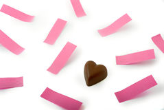 Chocolate heart pink notes Royalty Free Stock Image