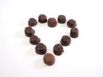 Chocolate heart, plain inside. Chocolates in heart shape royalty free stock photo