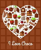 Chocolate heart poster. Love to sweets concept. Dessert banner, coffee and cake, snack product, breakfast and confectionery, vector illustration Stock Image