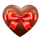 Chocolate Heart With Red Bow Royalty Free Stock Photos