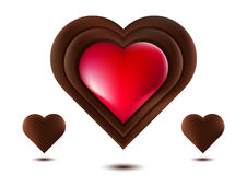 Chocolate Heart, Red Chocolate Heart, On White Background, Vector Illustration. Love gift, sweet vector illustration
