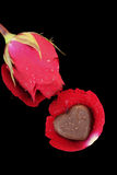 Chocolate heart and red rose Royalty Free Stock Image