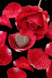 Chocolate heart and red rose Royalty Free Stock Photography