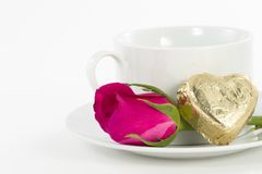 Chocolate heart and rose in the Valentine's Day Royalty Free Stock Photos