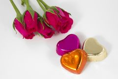 Chocolate heart and rose in the Valentine's Day Stock Image