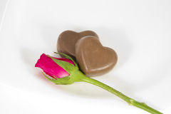 Chocolate heart and rose in the Valentine's Day Royalty Free Stock Photography