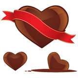 Chocolate heart set Stock Photos