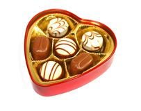 Chocolate in heart shape box. For valentin's day Royalty Free Stock Image