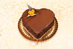 Chocolate heart shape cake Royalty Free Stock Image