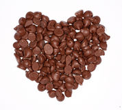 Chocolate heart. Heart shape made out of milk chocolate chips Stock Photography