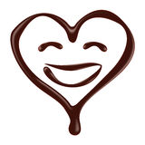 Chocolate heart shape smiley face on white background Royalty Free Stock Photography