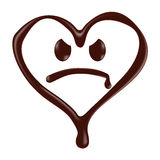 Chocolate heart shape smiley face on white background Royalty Free Stock Photos