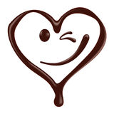 Chocolate heart shape smiley face on white background Stock Photography