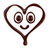 Chocolate heart shape smiley face on white background Royalty Free Stock Images