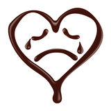 Chocolate heart shape smiley face on white background Stock Photo