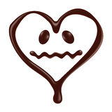 Chocolate heart shape smiley face on white background Stock Images