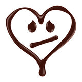 Chocolate heart shape smiley face on white background Stock Photos