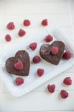 Chocolate Heart Shaped Brownie Cake Royalty Free Stock Photo