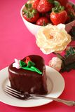 Chocolate Heart Shaped Cake and Strawberries Stock Photography