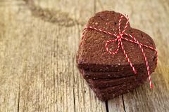 Chocolate heart-shaped cookies Stock Photos