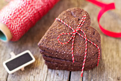 Chocolate heart-shaped cookies Royalty Free Stock Photo