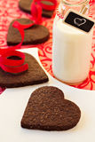 Chocolate heart-shaped cookies Stock Images
