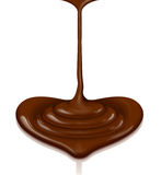 Chocolate heart-shaped flow with clipping path Royalty Free Stock Photos