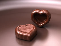 Chocolate hearts. Two chocolate hearts for Valentine's Day Stock Images
