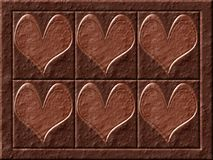 Chocolate hearts. Digitaly created background with realistic chocolate texture stock illustration