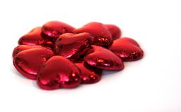 Chocolate Hearts. Delicious, red, chocolate hearts. Mmmm Stock Images