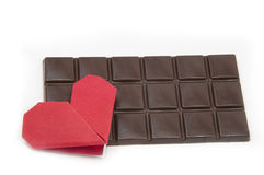 Chocolate and hearts Stock Images