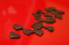 Chocolate hearts. Delicious chocolates for Valentines day Stock Image