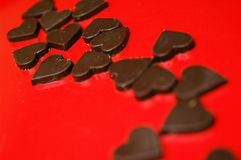 Chocolate hearts. Delicious chocolates for Valentines day Royalty Free Stock Photos