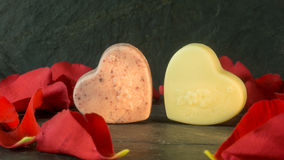 Chocolate hearts on a background of slate Stock Photo