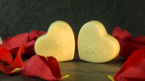 Chocolate hearts on a background of slate Royalty Free Stock Photography