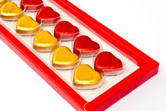 Chocolate hearts in box Stock Image