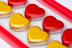 Chocolate hearts in box Stock Images