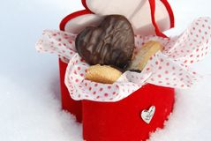 Chocolate hearts in a box Royalty Free Stock Image