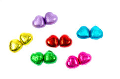 Chocolate hearts candies Stock Photos