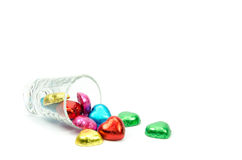 Chocolate hearts candies Stock Images