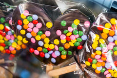 Chocolate hearts with colorful candy Royalty Free Stock Image