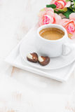 Chocolate hearts and cup of espresso for Valentine's Day Stock Photo