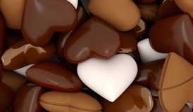 Chocolate Hearts Different Types Stock Images