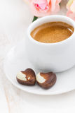 Chocolate hearts and espresso for Valentine's Day, vertical Stock Image