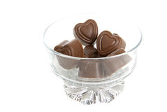 Chocolate Hearts in Glass bowl Royalty Free Stock Photos