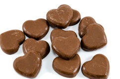 Chocolate Hearts. Group of scattered hearts made from chocolate Royalty Free Stock Photography