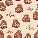 Chocolate hearts with the inscription Love. Candies. Seamless pattern. Design for textiles, napkins, tapestries, tablecloths, wrapping paper Royalty Free Illustration