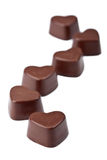 Chocolate hearts isolated stock images
