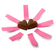 Chocolate hearts notes Stock Images