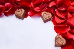 Chocolate hearts and red rose petals royalty free stock photography
